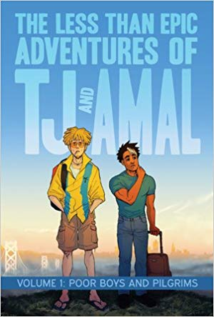 Two boys stand with a vast sky behind them.  One has white skin with short blonde hair and the other has brown skin with short black hair