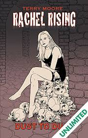 a black and white cartoon drawing of a girl with long hair in a black dress sitting on a pile of skulls