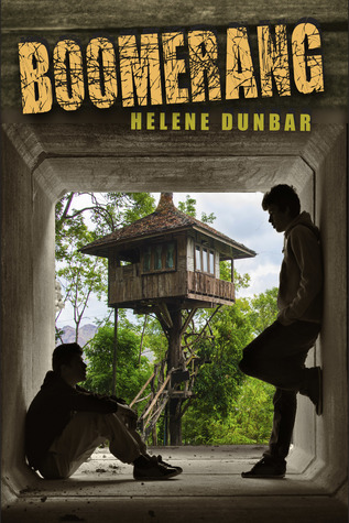 Book cover showing two boys in a tunnel with treehouse in background.