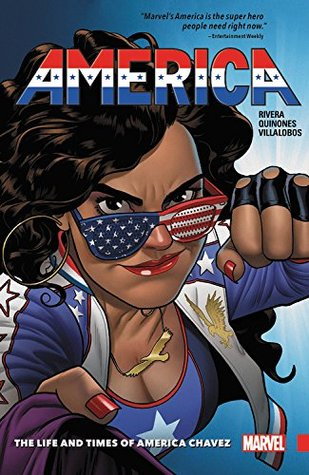 Book cover showing woman with red, white and blue sunglasses about to throw a punch.