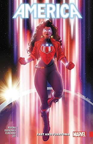 Book cover showing woman in superhero costume with gleaming eyes.