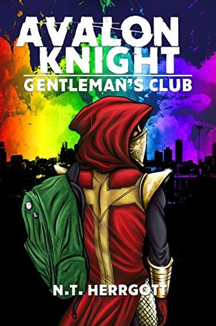 Book cover showing figure in knight's garb and backpack with rainbow of clouds over night cityscape.