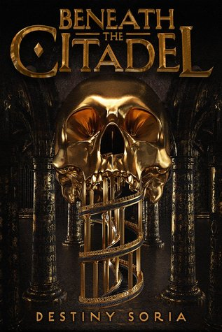 Book cover showing golden skull with spiral staircase as the jaw.