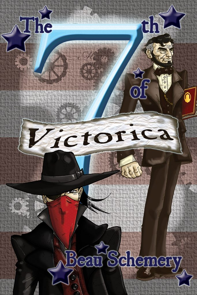Book cover showing Abraham Lincoln, gears, and person with eyepatch and bandana over face.