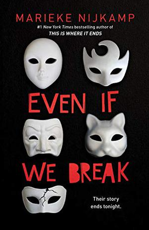Book cover showing five white costume masks on black background.