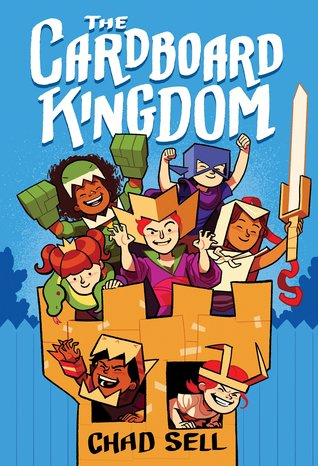 Book cover showing seven costumed characters in a cardboard castle.