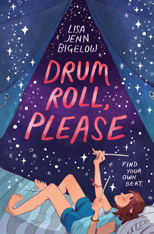 Book cover showing a girl with drumsticks in a tent, under the night sky,