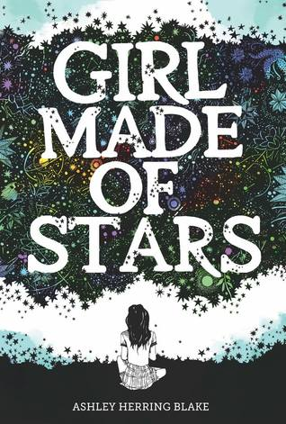 Book cover showing girl sitting facing wall of night sky and stars.