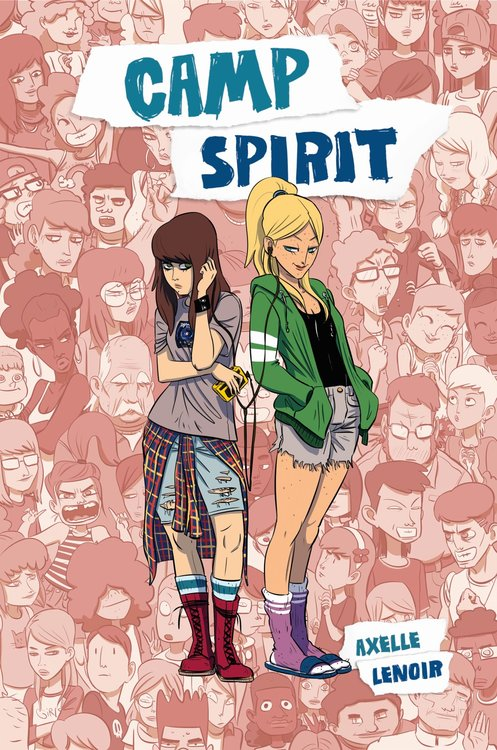 Book cover showing two girls sharing headphones, against a backdrop of a crowd of people.