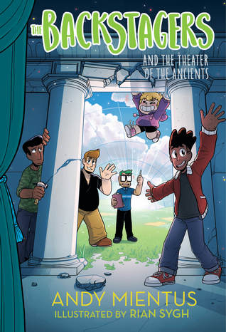 Book cover showing 5 characters surrounding a door.