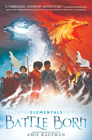 Book cover showing a group of character some with flags and a spear, and two fiery beasts.