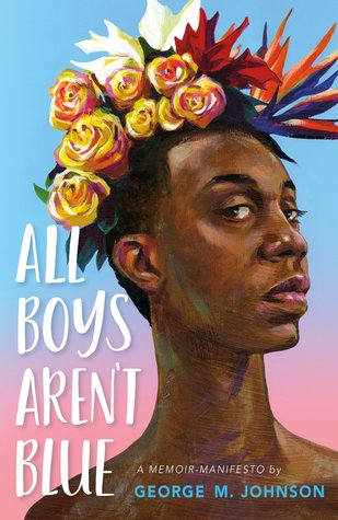 Book cover showing a Black boy with a head covering of flowers.