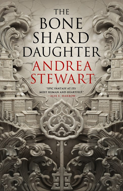 Book cover showing carved white towering buildings.