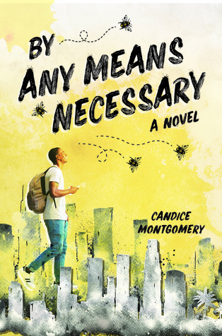 Book cover showing a guy with backpack walking through a city, and flies.