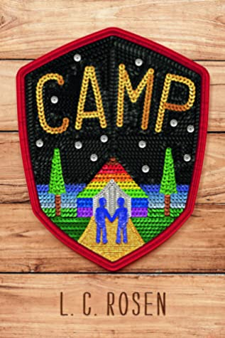 Book cover showing two figures holding hands by a rainbow cabin, on a patch.