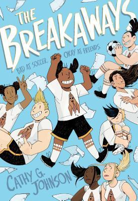 Book cover showing 8 drawn characters posing with papers thrown in the air.