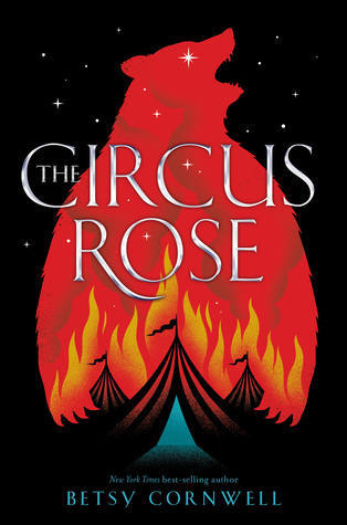 Book cover showing a silhouette of a bear over circus tents on fire.