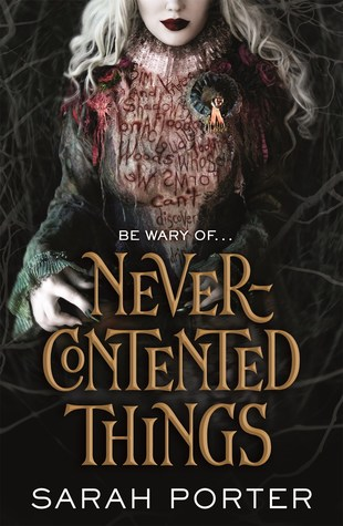 Book cover showing woman with white flowing hair and red words covering her torso.