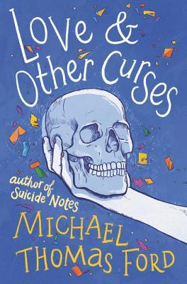 Book cover showing hand holding a skull, with confetti in the air.