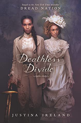 Book cover showing two Black women, one with a sword, the other in fancy dress.