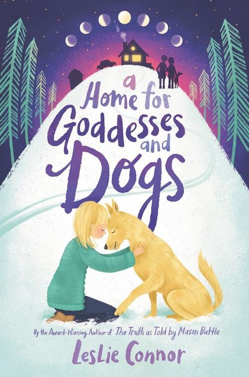 Book cover showing a girl embracing her dog at the bottom of a snoy hill, with a house on top, and phases of the moon.