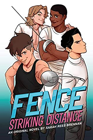 Book cover showing four characters with fencing equipment.