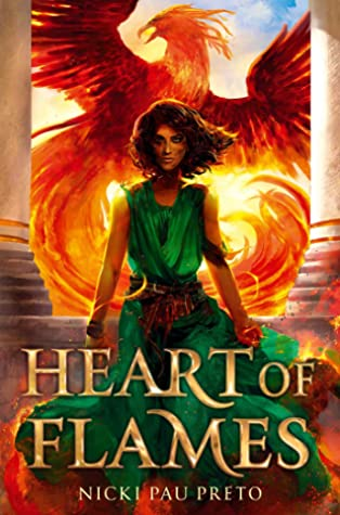 Book cover showing a girl with a golden dragon behind her.
