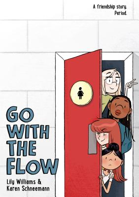 Book cover showing four characters emerging from the girls' restroom.