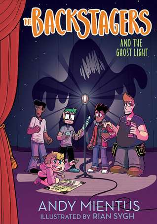 Book cover showing 5 drawn characters on a stage, with a ghost shadow behind them.