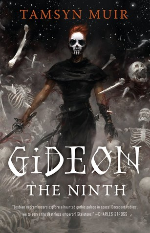 Book cover showing a figure with a sword and skull mask walking through flying skeleton parts.