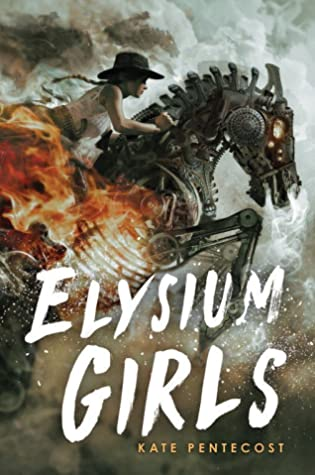 Book cover showing a girl riding a scrap metal horse surrounded by fire and smoke.