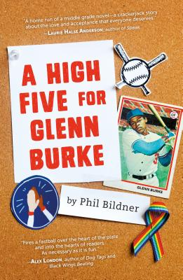 Book cover showing a baseball trading card and rainbow ribbon pin on corkboard.