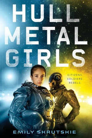 Book cover showing two girls in full body spacesuits.