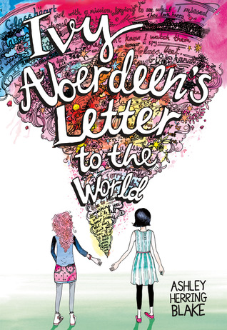 Book cover showing two girls almost holding hands, with a cyclone of words between them.