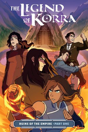 Book cover showing 5 drawn characters, one shackled and one wielding fire.