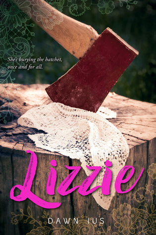 Book cover showing an axe on a stump with a lace handkerchief.