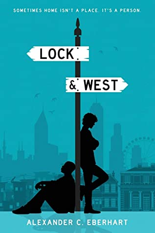 Book cover showing two silhouettes, leaning against a signpost.