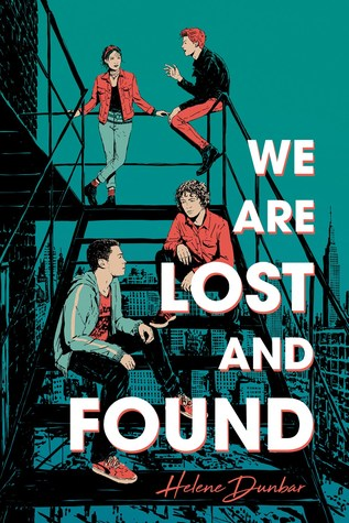 Book cover showing 4 drawn characters hanging out on a fire escape.