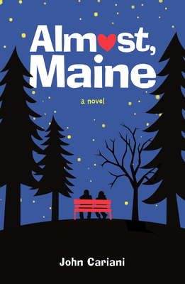 Book cover showing a couple on a bench in the woods under a night sky.