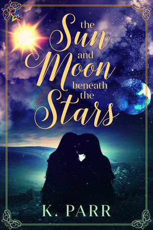 Book cover showing a couple kissing with the sun and moon in the sky.