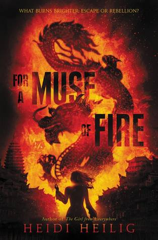 Book cover showing a dragon in fire with a girl standing below.