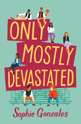 Book cover showing 7 characters posing, some on bleachers.