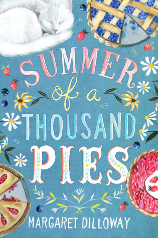 Book cover showing pies and a sleeping cat.