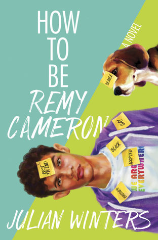 Book cover showing a guy and his dog with Post-it notes stuck to them.