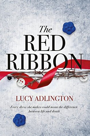 Book cover showing a red ribbon, barbed wire and buttons.