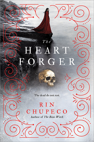 Book cover showing a woman in red robes standing on the edge of a rock, behind a skull.