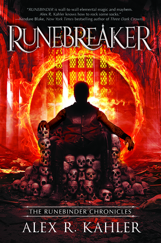 Book cover showing a figure on a throne of skulls before a loop of fire.