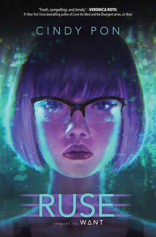 Book cover showing girl's face and lights around it.