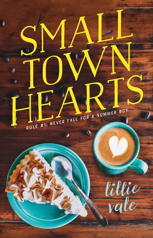 Book cover showing a slice of pie and a latte with heart swirl.