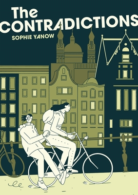 Book cover showing two people on a bicycle in a city.